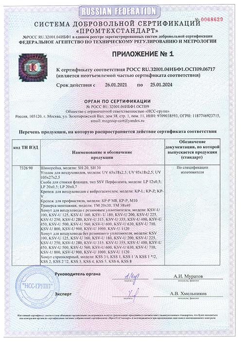 """Приложение 1 к сертификату к монтажным системам """"Tech-KREP"""""""