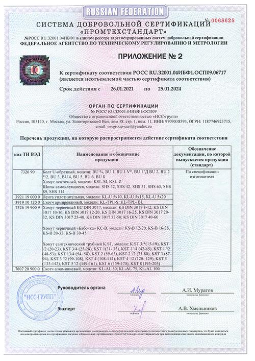 """Приложение 2 к сертификату к монтажным изделиям """"Tech-KREP"""""""
